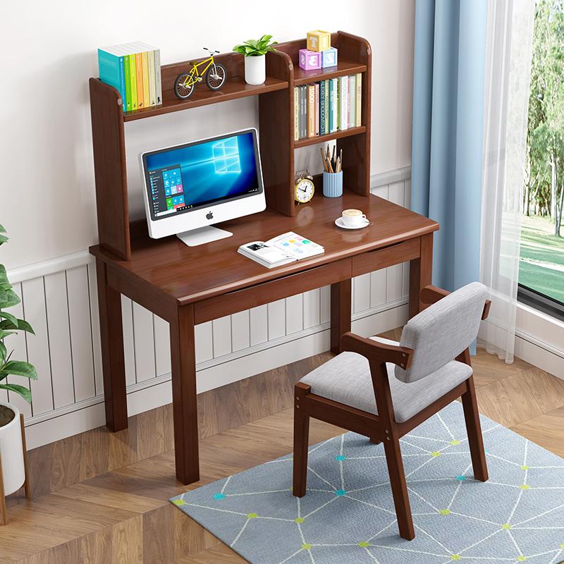 实木电脑桌儿童中小学生家用课桌现代简约可升降带书架书桌椅组合