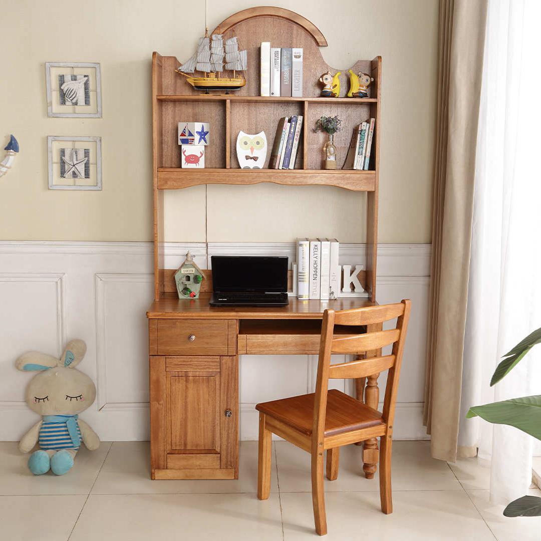 儿童写字桌台式家用电脑桌简约卧室书桌一体带书架组合学生学习桌