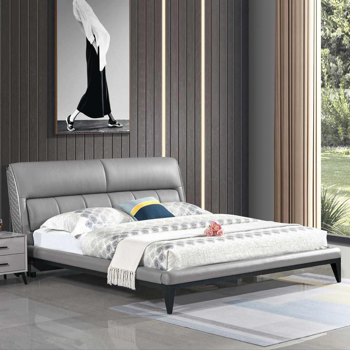 现代简约双人床经济型1.8米1.5米 北欧主次卧框架储物高箱小户型