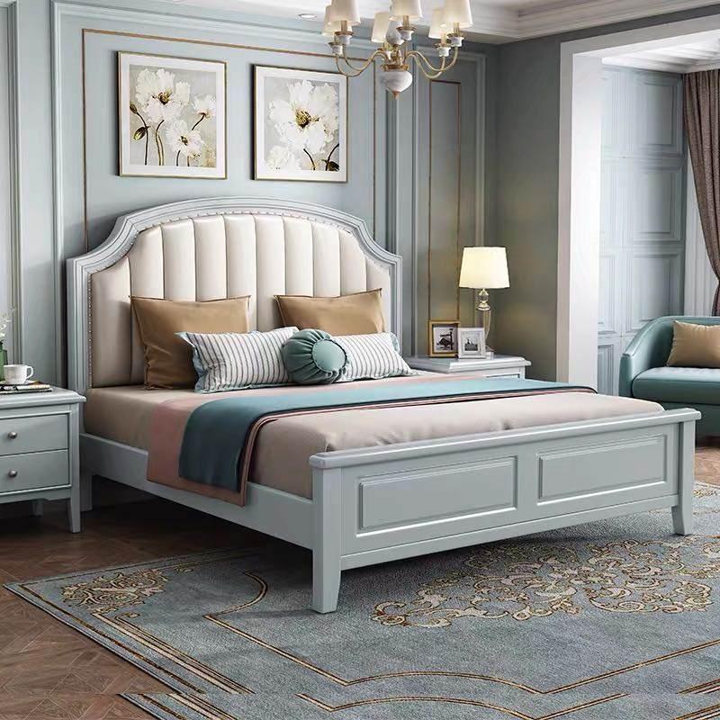 美式实木床1.8双人床公主床现代简约1.5米欧式床轻奢储物主卧婚床