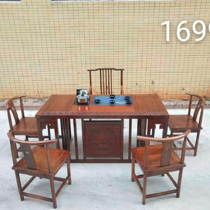 南榆木茶台茶几新中式实木茶桌子茶台功夫泡茶桌椅组合