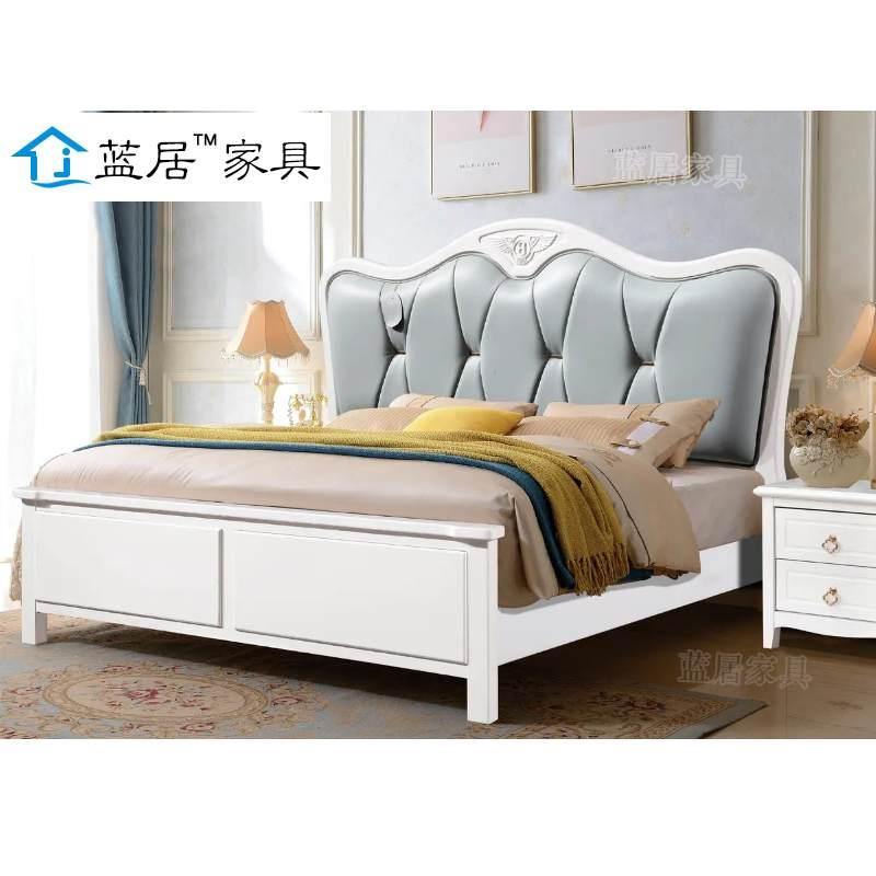 蓝居现代简约北欧实木床框架1.8米主卧双人床轻奢橡木床南康实木婚床