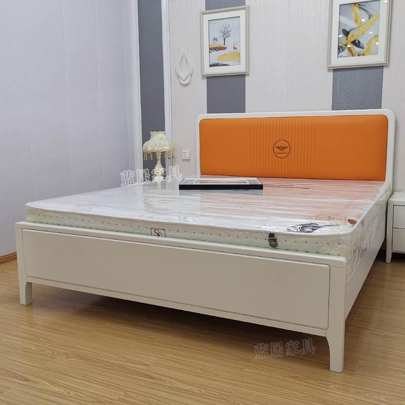 工厂直发蓝居现代简约轻奢实木床1.8米双人床高箱1.5m主卧北欧软包床婚床