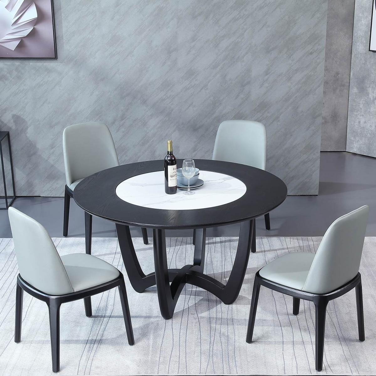 意式岩板圆形实木餐桌椅组合现代简约圆餐桌带转盘大理石北欧桌子