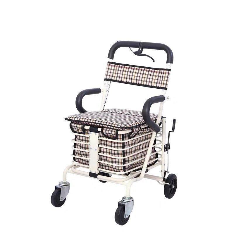 老年人购物代步车折叠座椅可坐四轮买菜休闲助步手推车轻便小拉车