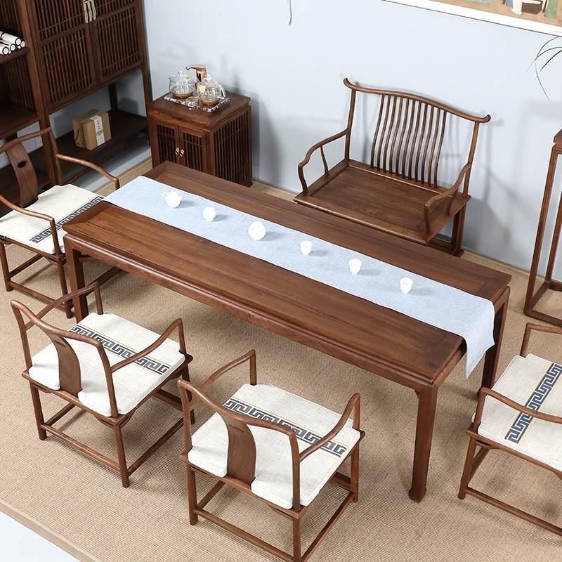 新中式茶桌椅组合实木茶几高端禅意功夫茶座简约现代贵宾茶台