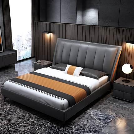 北欧轻奢极简实木床主卧1.8双人婚床1.5意式现代简约真皮储物婚床