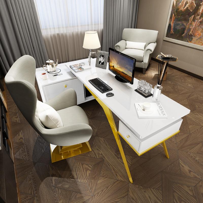 现代轻奢转角台式电脑桌办公室书房ins风简约书桌港式书桌椅组合