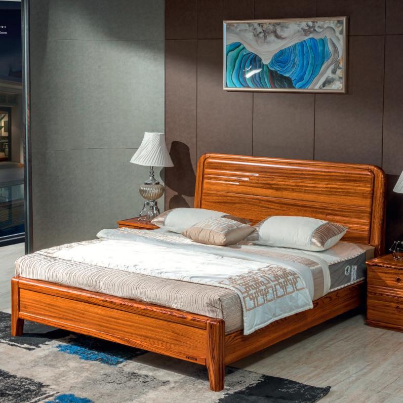 中式实木床 乌金木双人床1.8米现代简约主卧家具床高箱储物床婚床