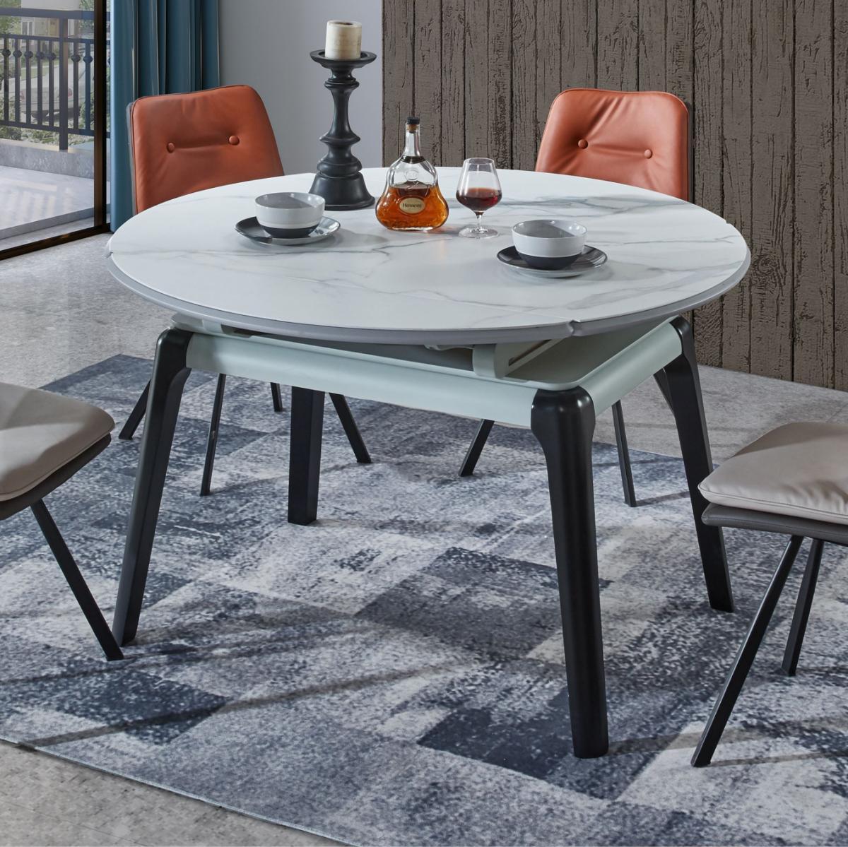 意式轻奢岩板餐桌小户型家用可伸缩岩板餐桌可变圆桌现代简约桌子