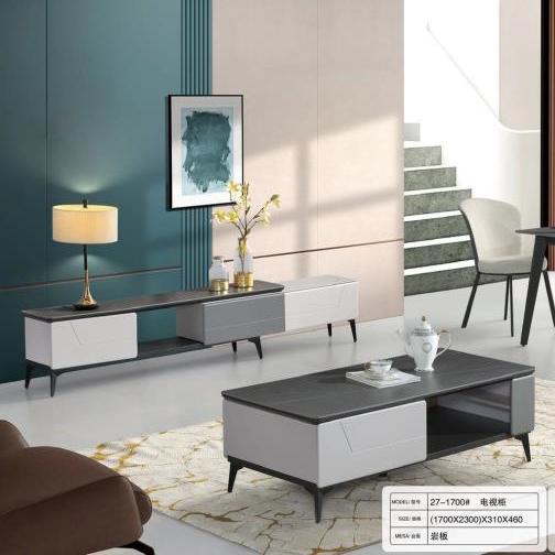 意式轻奢岩板茶几简约现代北欧家用客厅方形大理石茶几电视柜组合
