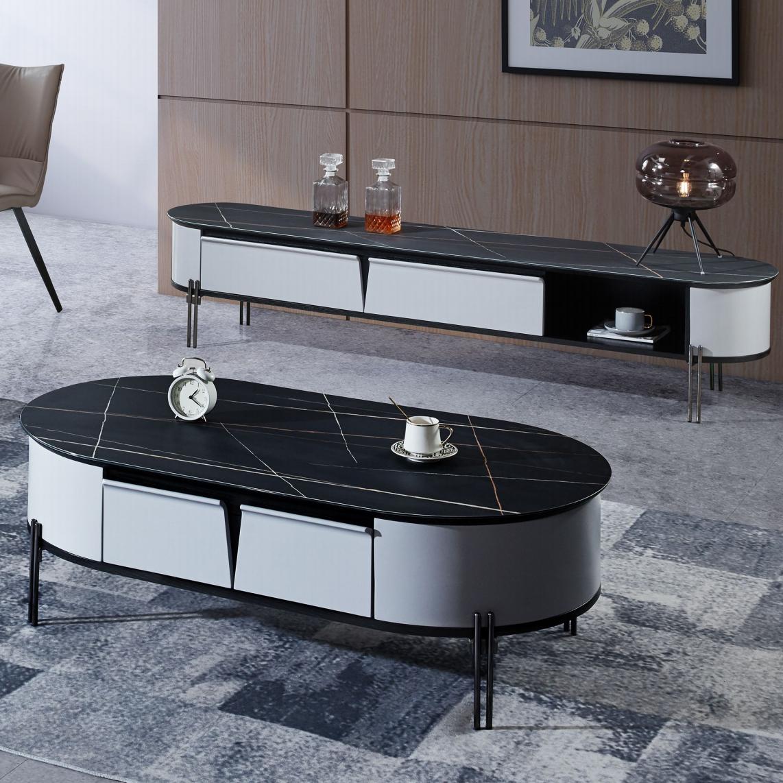 岩板茶几电视柜组合轻奢现代简约椭圆小户型黑白北欧风格2020新款