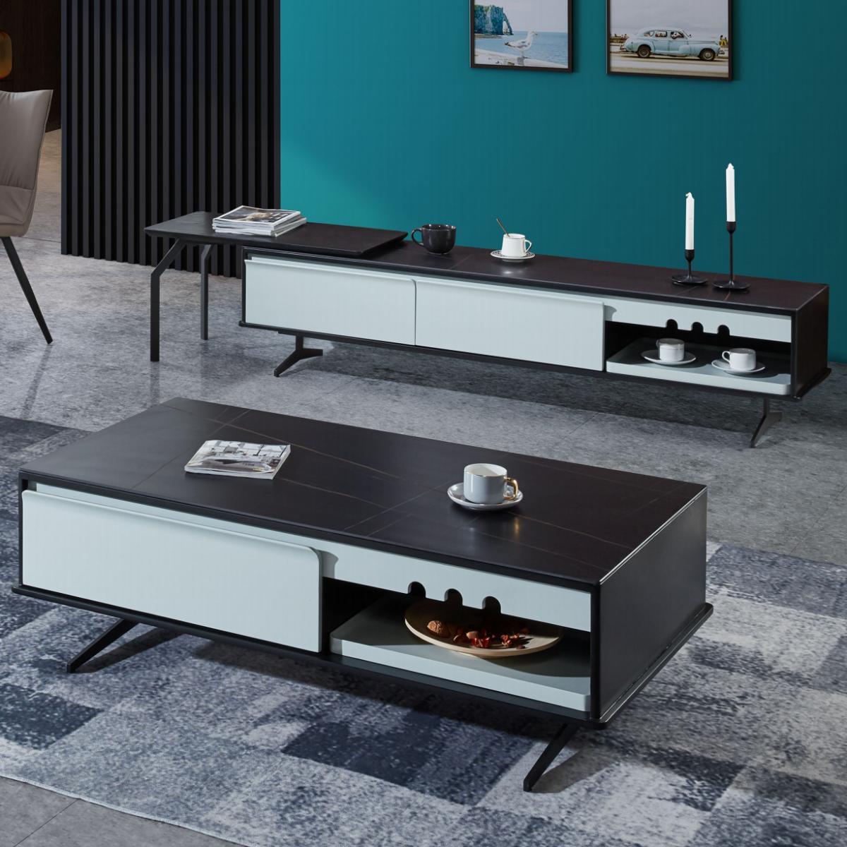 意式轻奢设计师电视柜简约现代茶几电视柜组合客厅套装小户型地柜