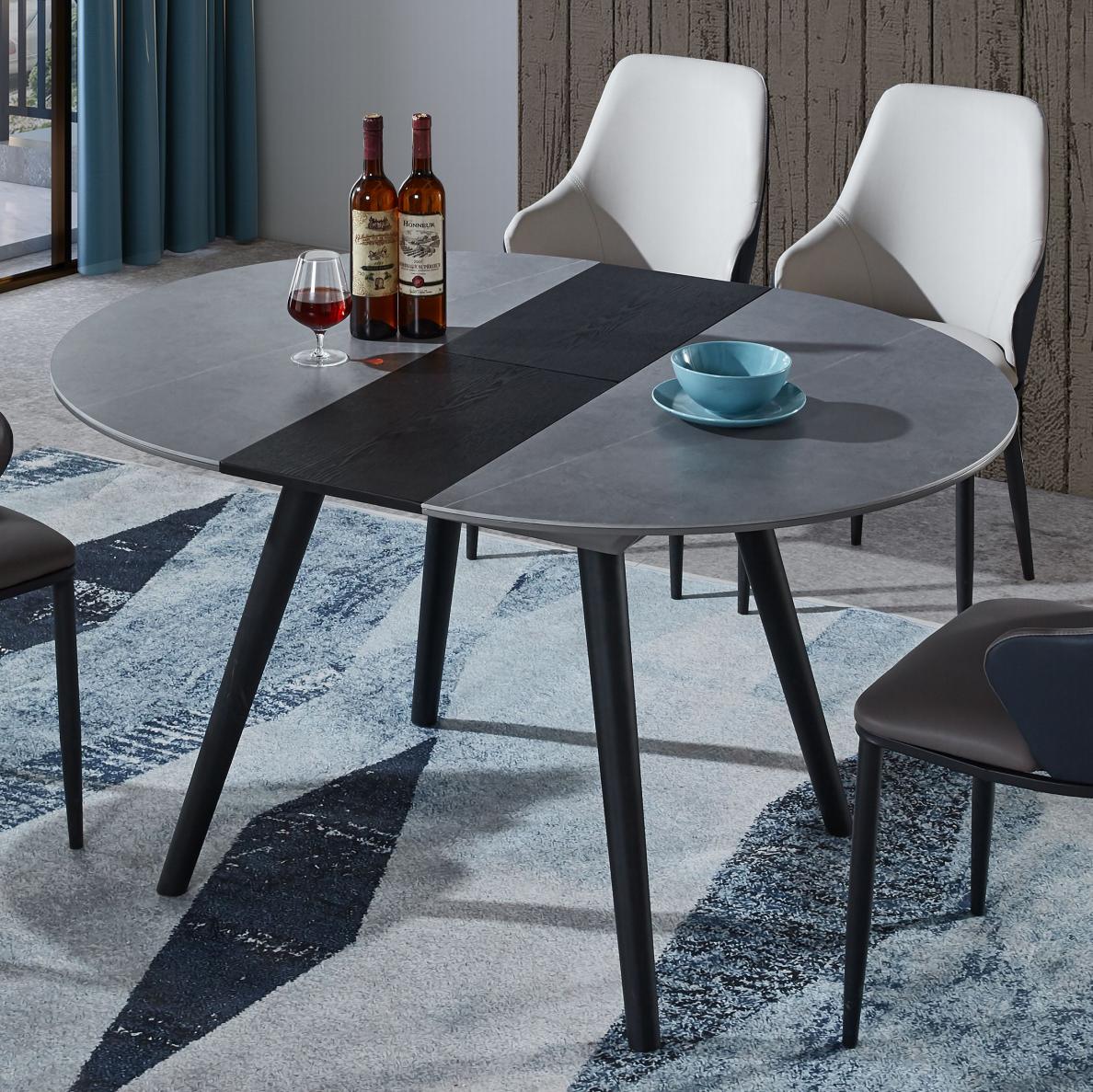 意式岩板伸缩餐桌简约现代小户型家用变形创意北欧椭圆餐台椅组合