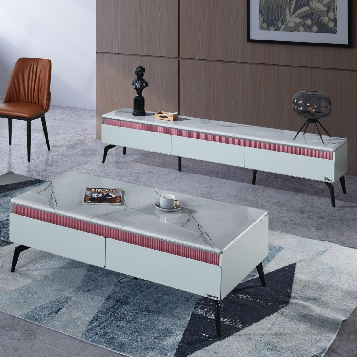 意式岩板茶几电视柜组合轻奢小户型现代简约地墙柜客厅家具电视柜