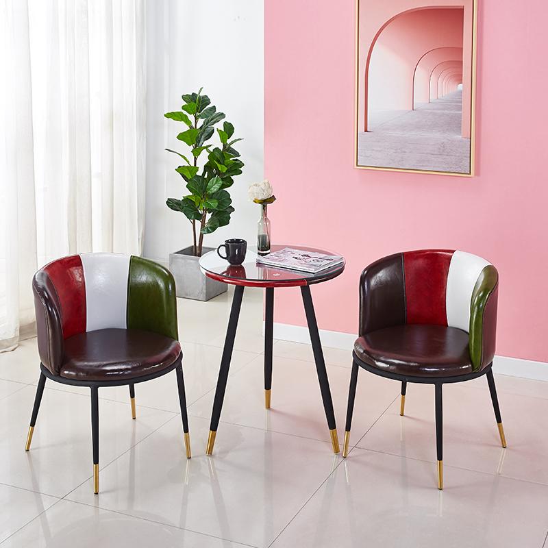 北欧网红椅子家用轻奢靠背餐椅简约休闲阳台小桌椅咖啡桌椅三件套