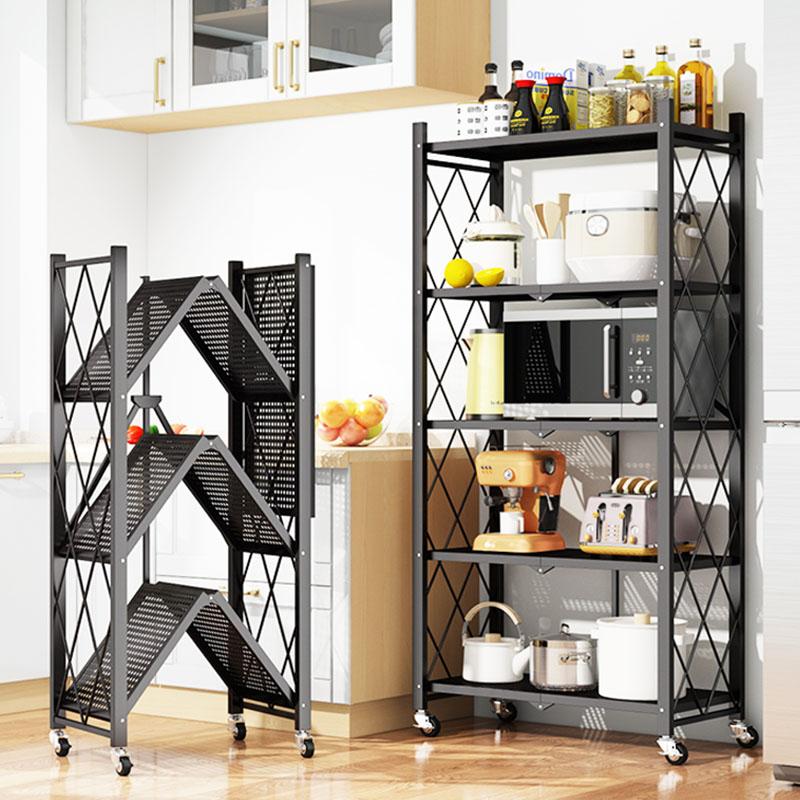 免安装厨房置物架落地多层折叠微波炉卧室家用可移动储物收纳架子折叠置物架