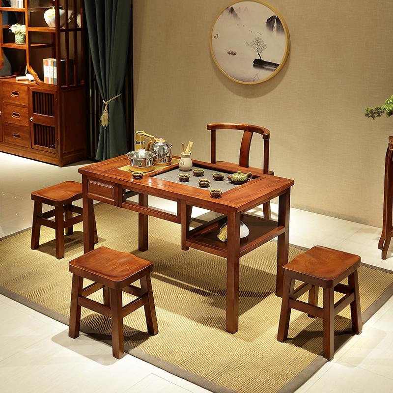 实木茶桌椅组合功夫小茶台阳台家用茶桌茶几茶具套装一体简约现代