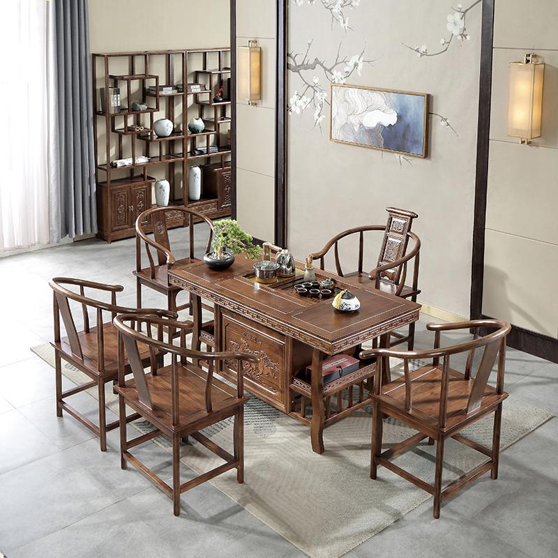 新中式实木茶桌椅组合家用办公室轻奢茶台小茶几茶具套装桌子一体