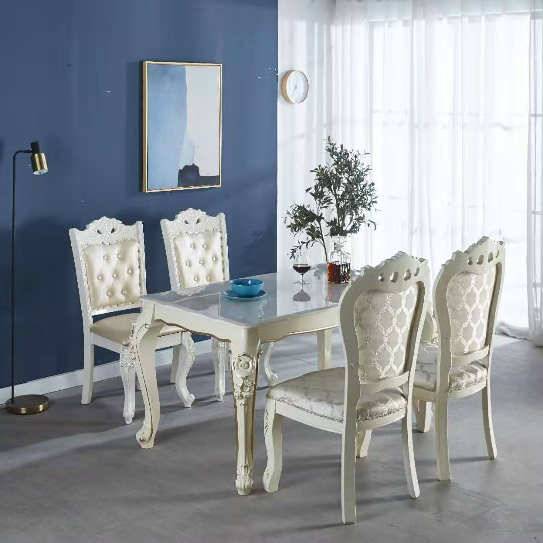 欧式餐桌椅组合实木大理石田园餐桌简约现代餐厅家用饭桌家具套装