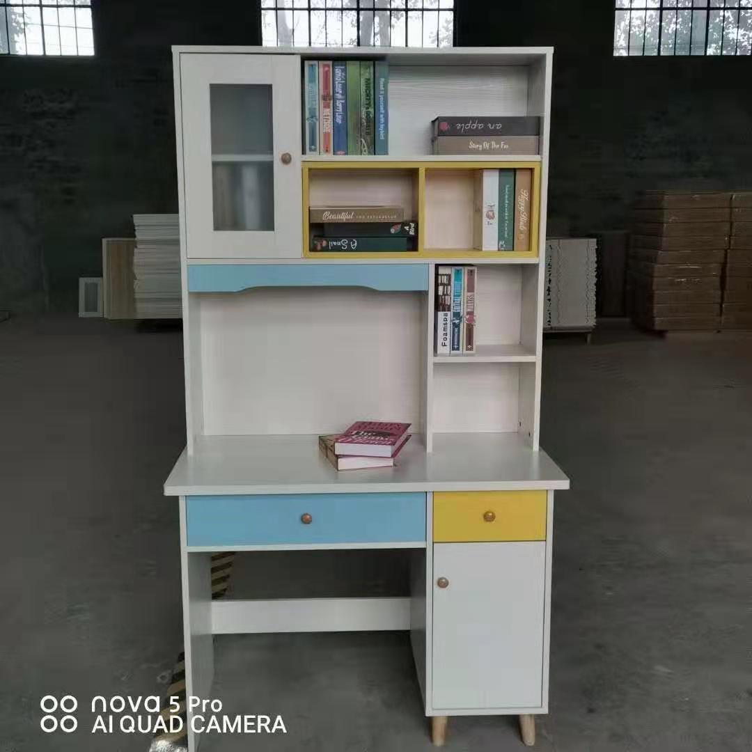 北欧电脑桌简约现代小户型伸缩书桌书架书柜组合家用一体桌写字台