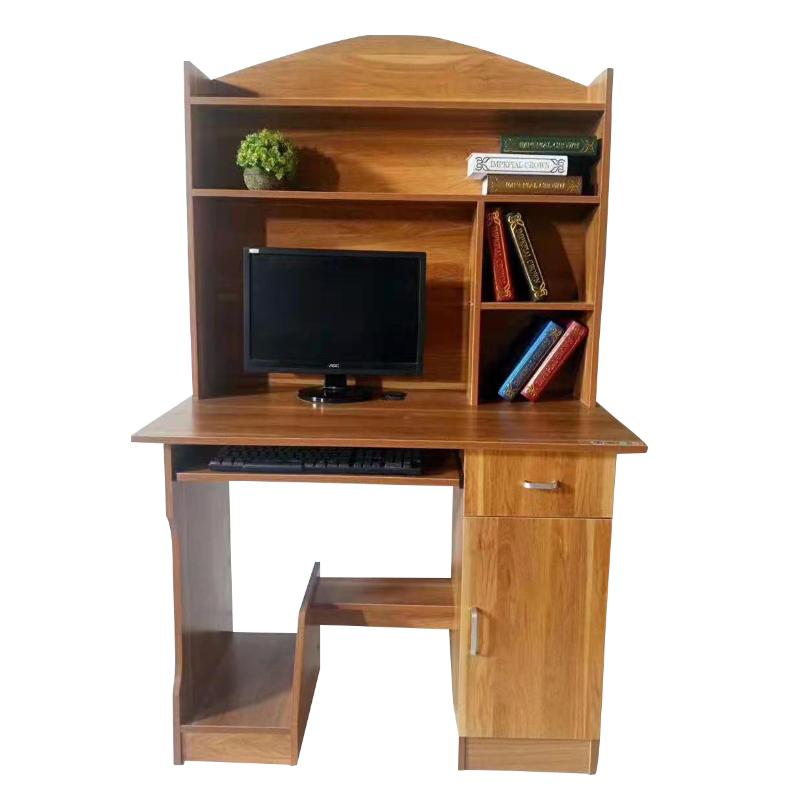 简约书柜学生家用经济型橡木实木书桌书架一体组合电脑台式桌办公