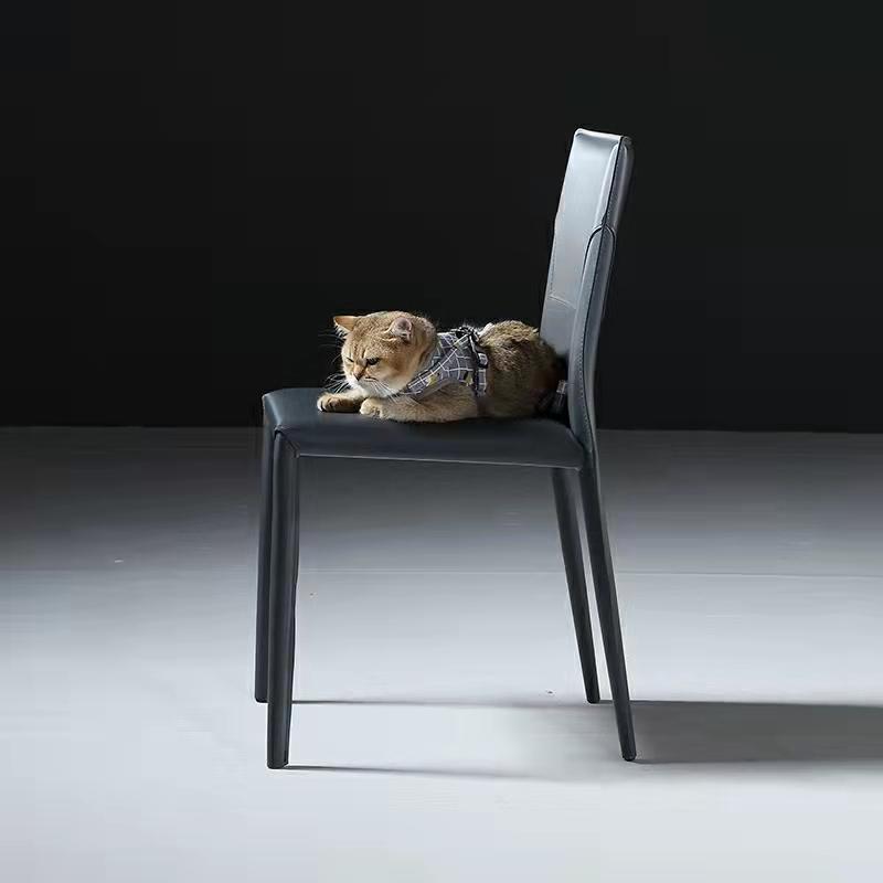 意式极简马鞍皮餐椅现代简约家用靠背椅子酒店餐厅再生真皮马鞍椅