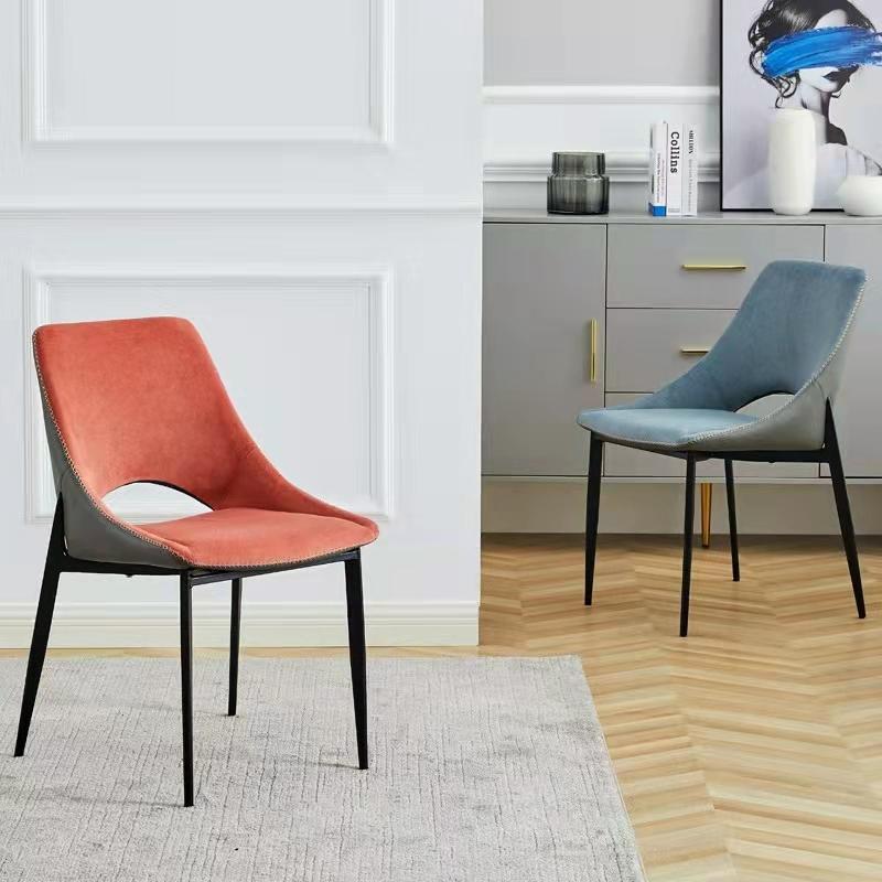 北欧风餐椅家用靠背餐椅简约餐椅轻奢椅科技布椅子酒店洽谈书桌椅子化妆凳子 休闲椅 餐厅椅子