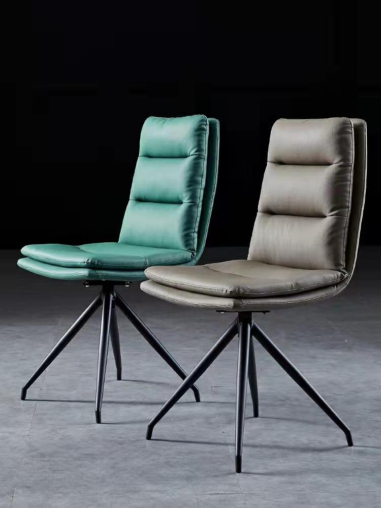 北欧椅子轻奢家用餐椅简约现代靠背椅皮革休闲金属凳子旋转书桌椅