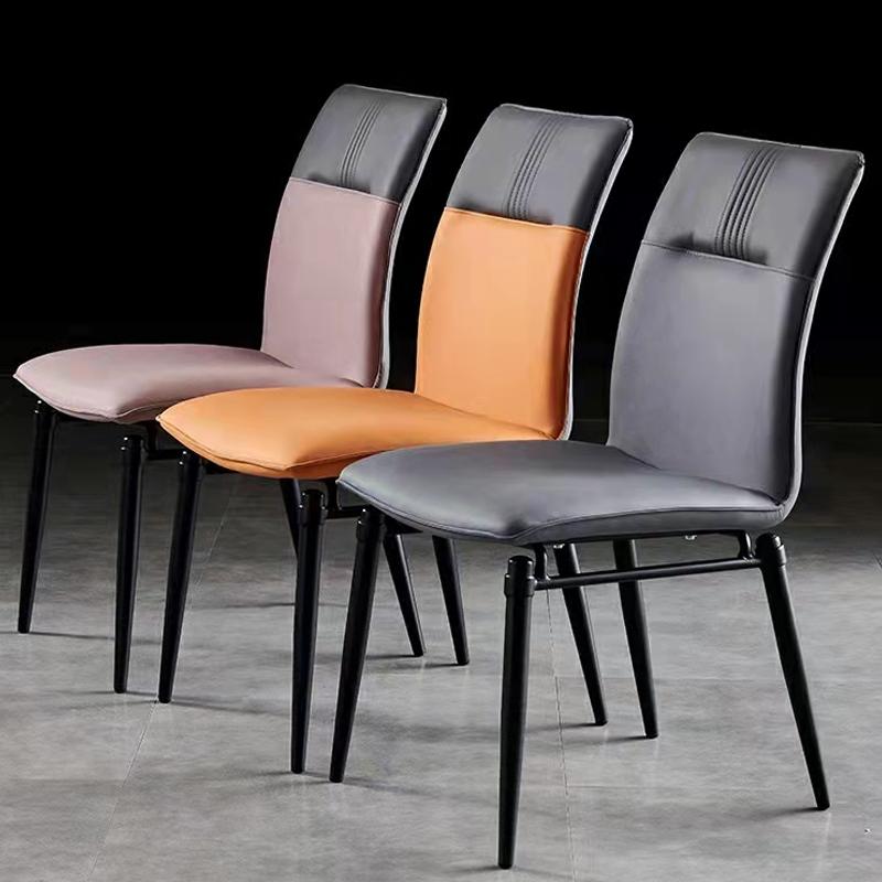 软包餐椅简约现代家用轻奢靠背椅高端椅子餐厅凳子金属意式极简