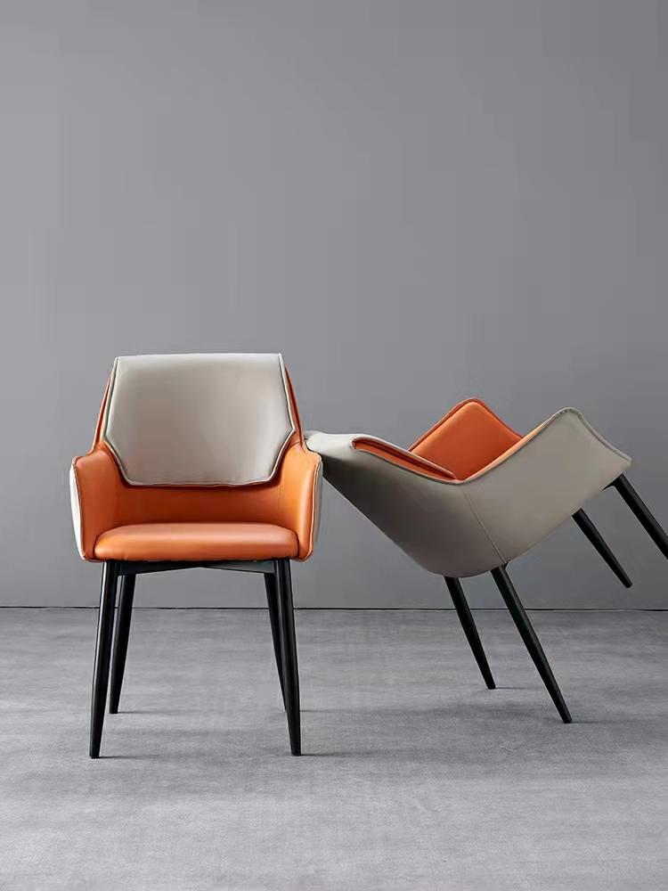 意式轻奢餐椅家用简约现代餐厅扶手软包靠背凳子网红时尚休闲椅子