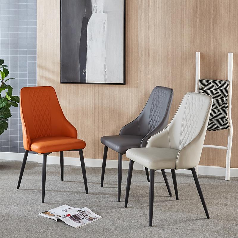 现代轻奢餐桌椅子家用现代意式极简皮革椅子酒店网红餐厅凳靠背椅