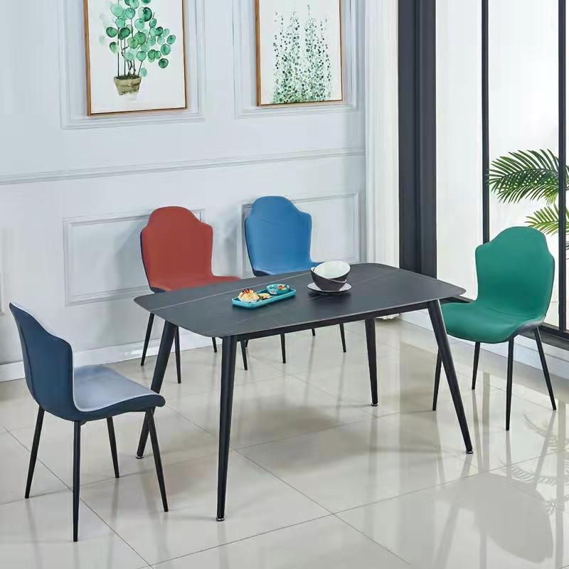 轻奢家用餐椅简约现代休闲靠背椅网红餐厅洽谈软包椅子铁艺创意椅