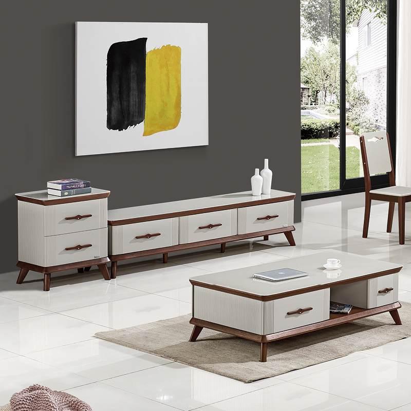维可多茶几简约现代 轻奢小户型客厅北欧钢化玻璃茶几电视柜组合