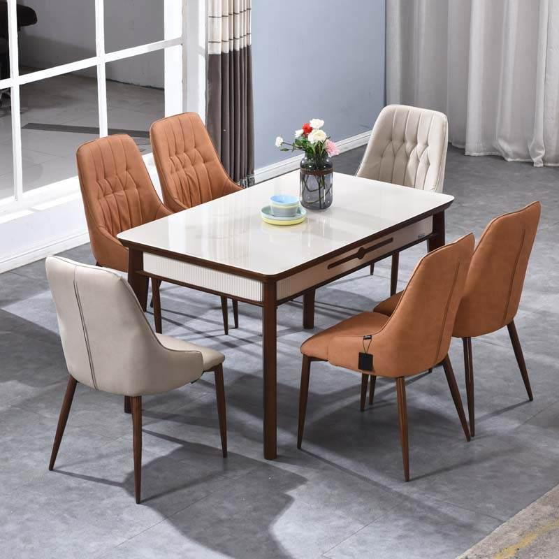 维可多 餐桌椅组合现代简约餐桌家用长方形钢化玻璃小户型饭桌子