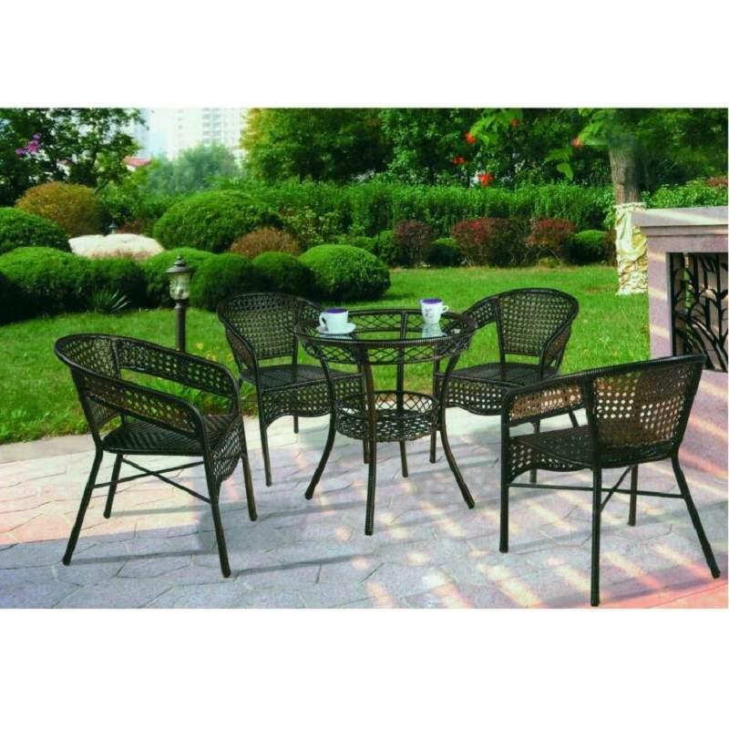 北欧户外织带桌椅茶几组合简约室外露天阳台铁艺绳编餐椅