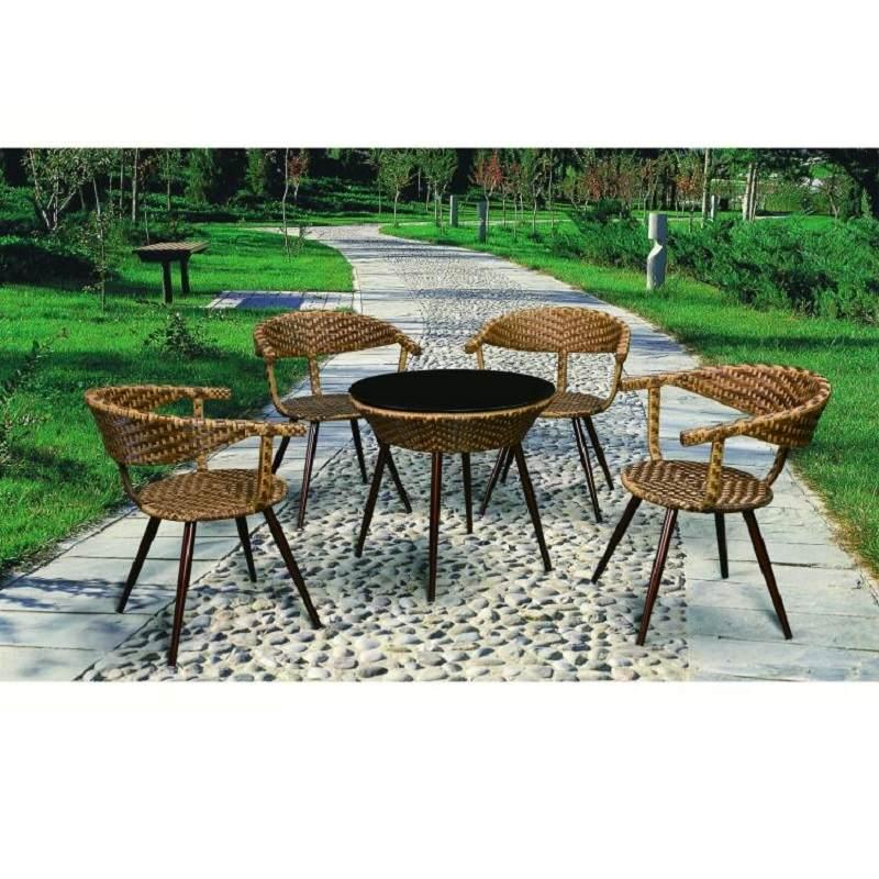 现代简约阳台小茶几钢化玻璃小圆桌藤编玻璃茶几圆形休闲迷你桌子