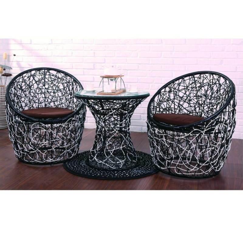 大厅接待桌椅组合鸟巢椅子简约现代藤椅子茶几三件套庭院户外休息区接待椅