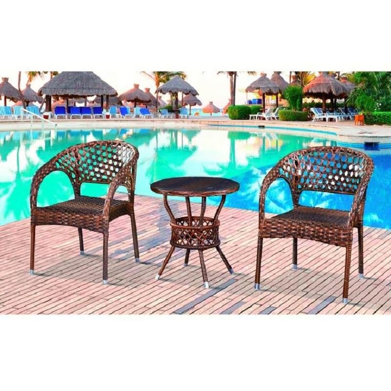 藤椅三件套阳台桌椅户外小茶几组合休闲简约靠背椅单人室外腾椅子