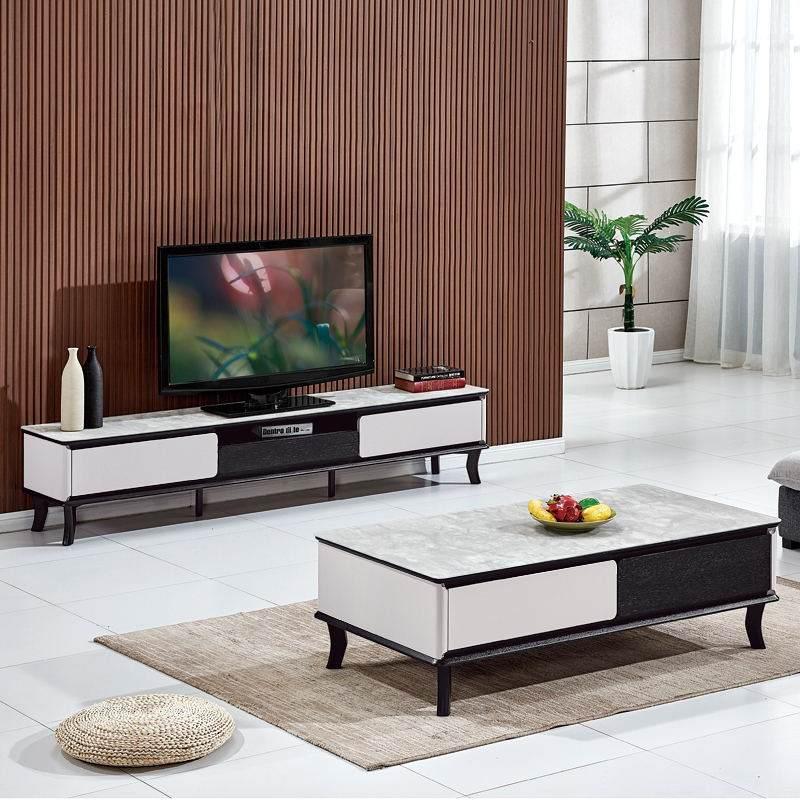北欧小户型客厅茶几电视柜组合成套家具现代办公室火烧石茶几实木