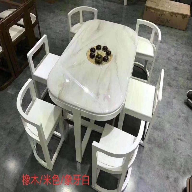 大理石实木餐桌北欧简欧餐桌椅组合皮椅小户型家具省空间长餐桌