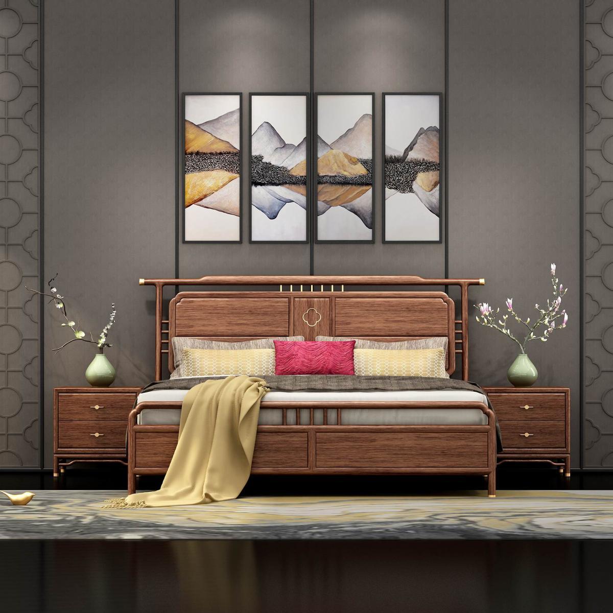 红木床实木床新中式床中式床红木新中式床中式床
