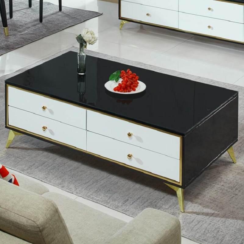 轻奢茶几电视柜组合餐桌椅组合大小户型客厅后现代简约不锈钢化玻璃家具