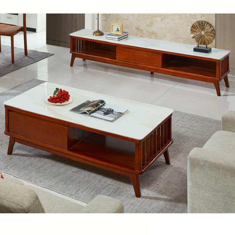 纯天然大理石茶几现代简约实木橡木储物客厅 电视柜组合 餐桌椅组合