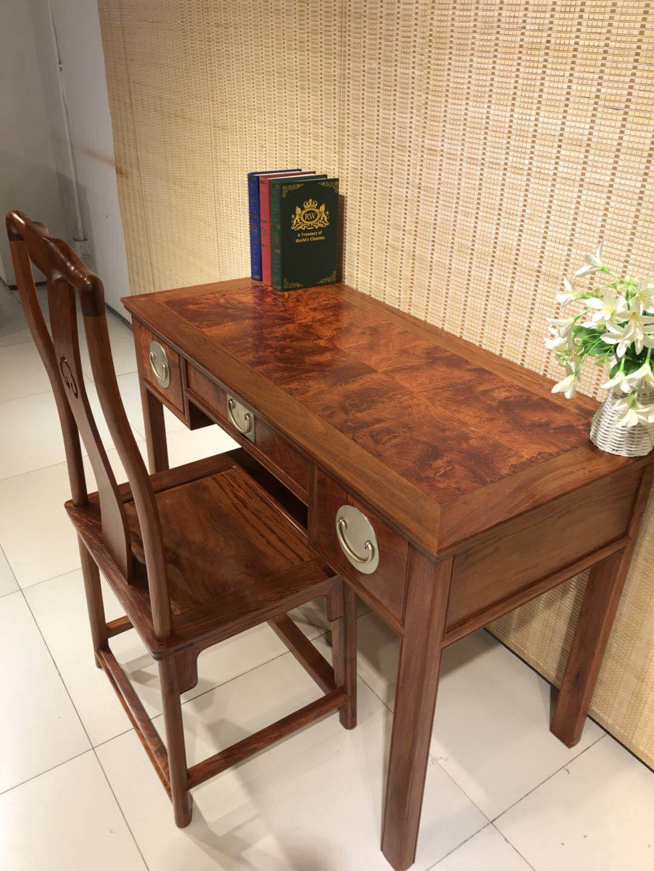红木书桌大果紫檀,电脑台,学生桌,中式全实木书桌