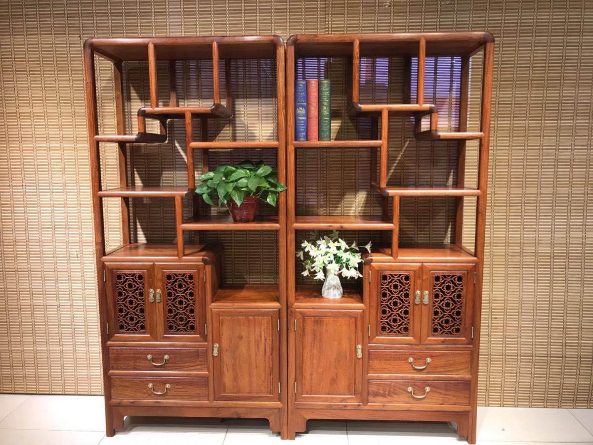 大果紫檀博古架,实木古典多宝阁,中式博古架茶叶架置物陈列组合柜
