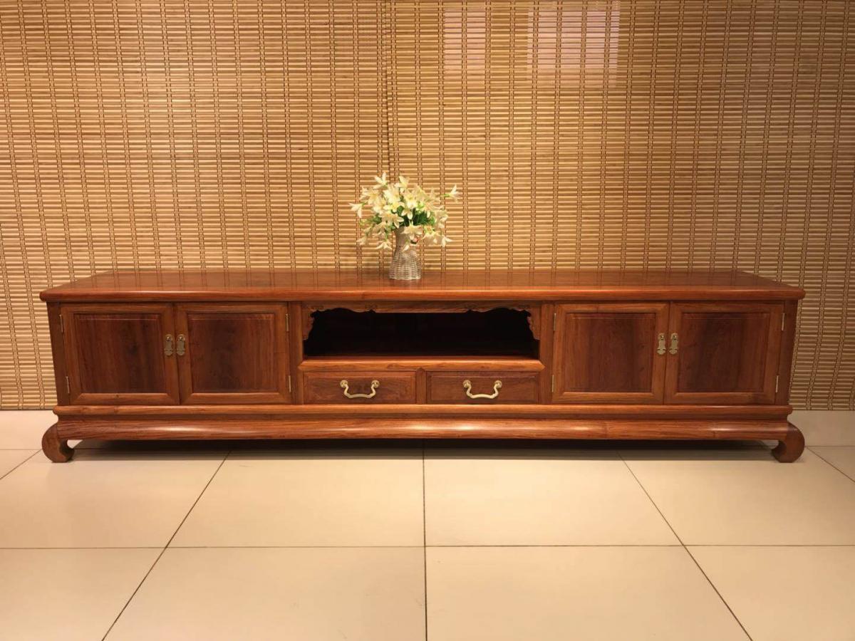 红木电视柜大果紫檀,客厅中式地柜,榫卯结构制作,红木制作,天然木材觉无甲醛