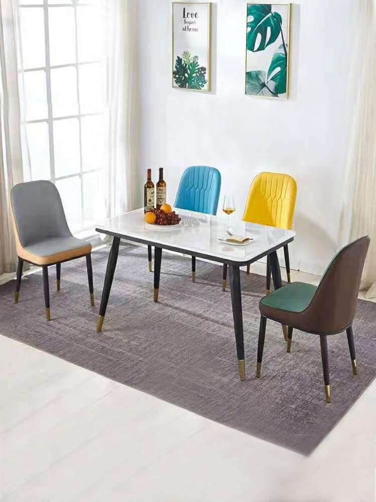 北欧风轻奢餐桌椅组合后现代餐厅酒店软包椅时尚简约家用靠背椅子
