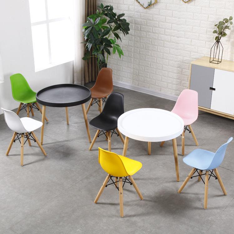 北欧简约现代儿童伊姆斯多彩塑料靠背实木腿餐椅书桌游戏椅