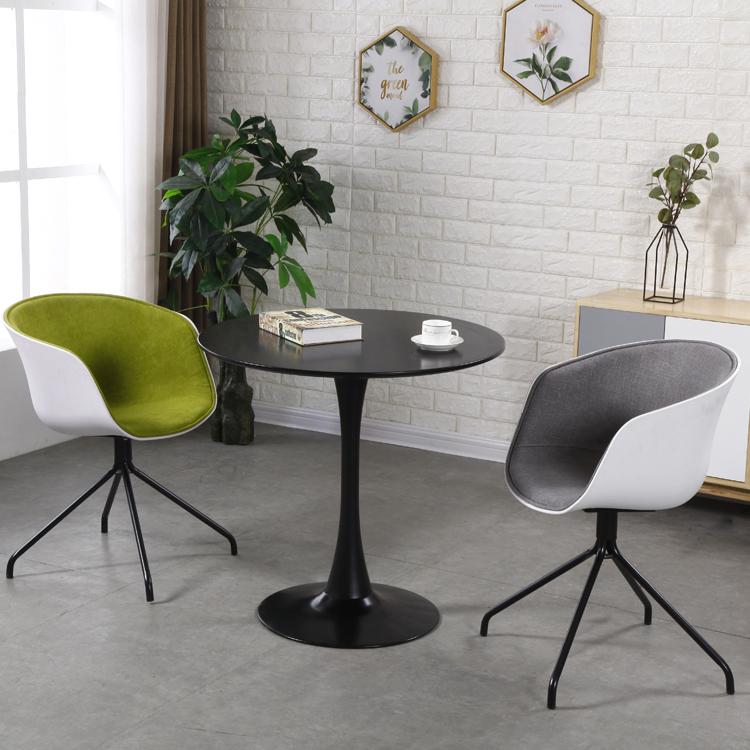 北欧简约现代加厚塑料职员办公椅软半包织物接待洽谈化妆电脑椅